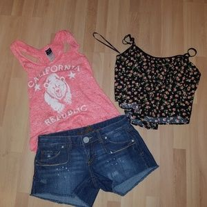 Almost Famous jean shorts + 2 tops
